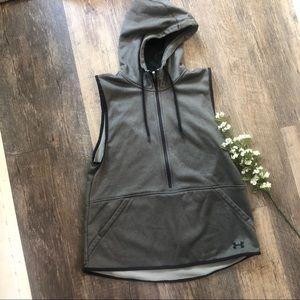 Under Armour Cold Gear 3/4 zip Grey Hoodie Vest